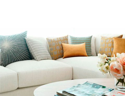 Blue, Brown, Room, Interior design, Living room, Furniture, Couch, Turquoise, Teal, Table,