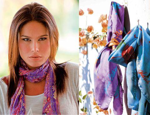Lip, Hairstyle, Textile, Purple, Eyelash, Horse, Beauty, Violet, Brown hair, Model,
