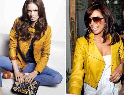 Eyewear, Arm, Glasses, Yellow, Textile, Sunglasses, Hand, Outerwear, Style, Jacket,