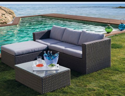 Blue, Outdoor sofa, Outdoor furniture, Couch, Furniture, Turquoise, Aqua, Outdoor table, Real estate, Azure,