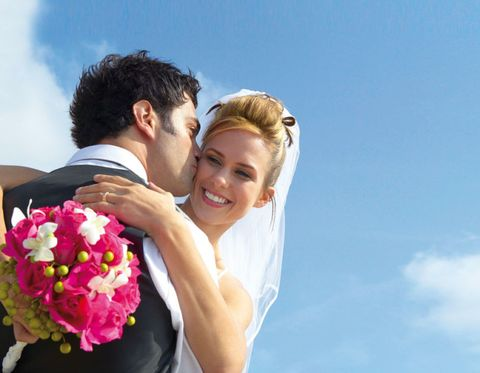 Petal, Photograph, Happy, People in nature, Bride, Facial expression, Love, Romance, Bridal clothing, Interaction,