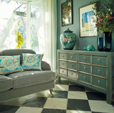 Blue, Green, Room, Wood, Interior design, Chest of drawers, Drawer, Furniture, Floor, Home,