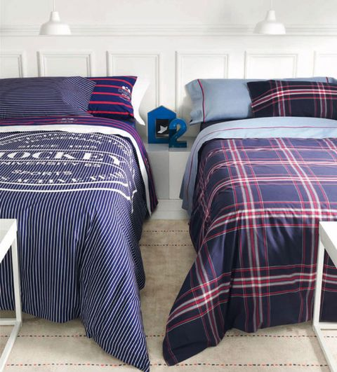 Blue, Room, Lighting, Property, Interior design, Plaid, Textile, Bedding, Linens, Tartan,