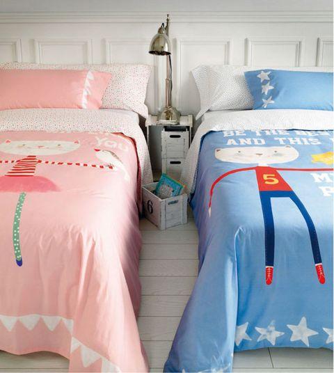 Blue, Bed, Room, Lighting, Bedding, Bed sheet, Bedroom, Interior design, Textile, Linens,