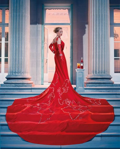 Red, Dress, Pink, Formal wear, Gown, Magenta, Column, Fashion model, Costume design, Stairs,
