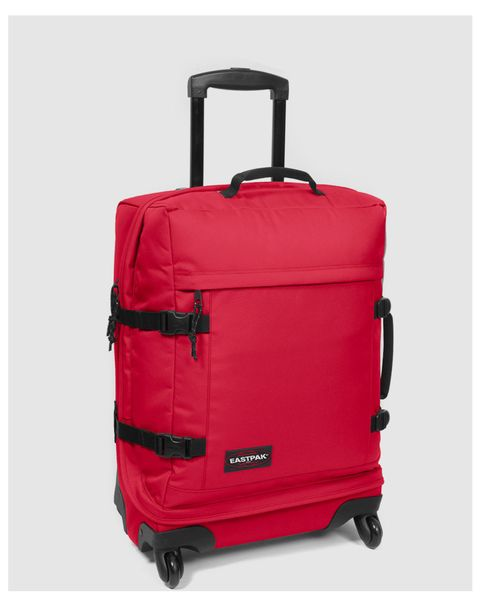 Product, Brown, Red, Style, Luggage and bags, Maroon, Baggage, Rolling, Strap, Plastic,