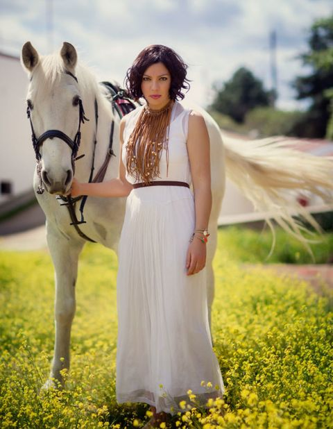 Horse, Working animal, People in nature, Dress, Halter, Jewellery, Horse tack, Horse supplies, Bridle, Field,