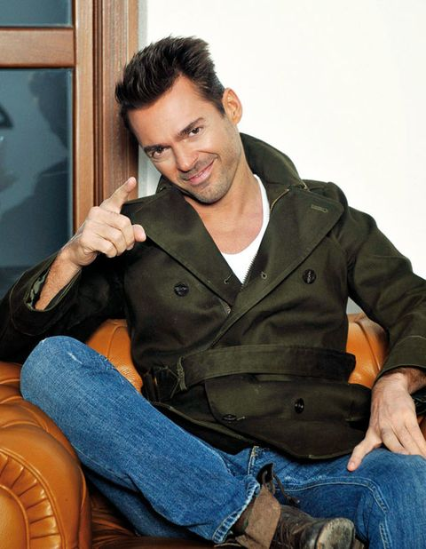 Denim, Trousers, Jeans, Sitting, Hand, Jacket, Pocket, Leather, Lap, Thumb,
