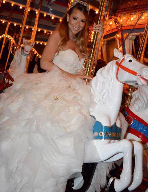 Fun, Dress, Horse, Fashion, Gown, Wedding dress, Bridal clothing, Bride, Amusement park, Carousel,