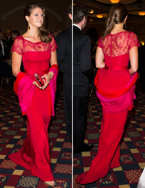 Clothing, Shoulder, Red, Joint, Outerwear, Formal wear, Style, Dress, Flooring, Waist,