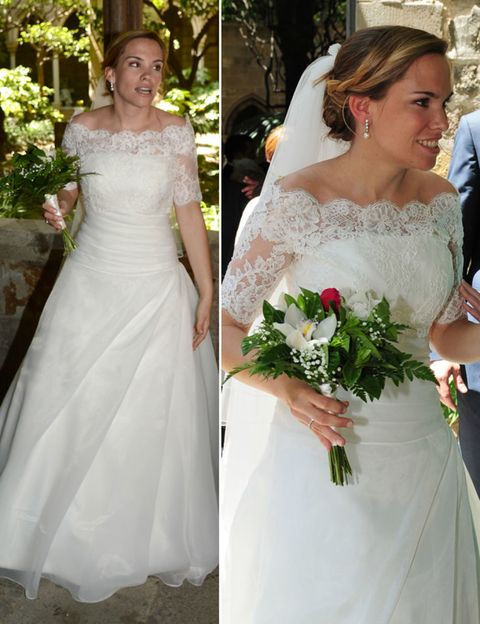 Clothing, Dress, Bridal clothing, Sleeve, Petal, Bride, Shoulder, Wedding dress, Textile, Photograph,