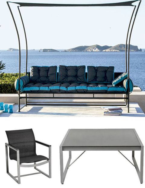 Blue, Furniture, Outdoor furniture, Couch, Rectangle, Azure, Shade, Coffee table, Teal, Turquoise,