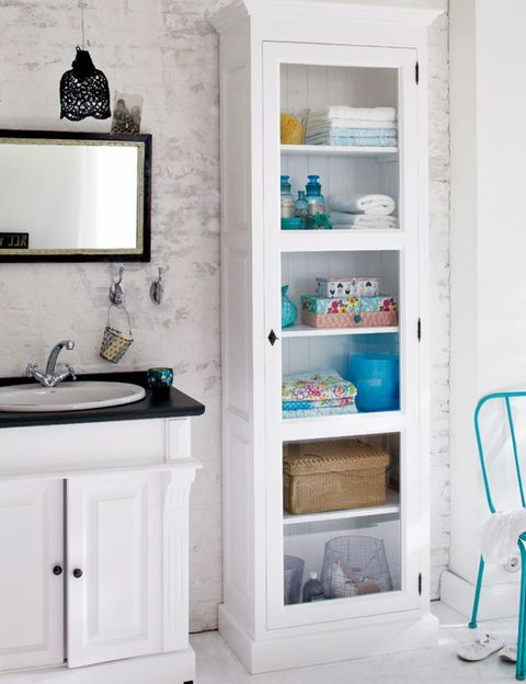 Room, White, Wall, Interior design, Floor, Shelving, Bathroom cabinet, Cabinetry, Teal, Turquoise,