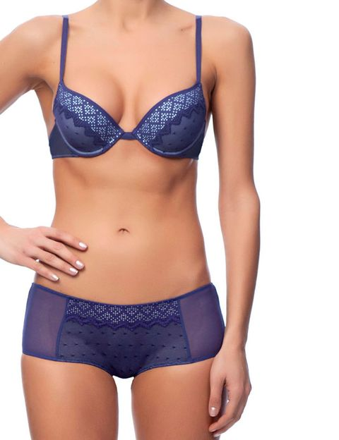 Clothing, Blue, Brassiere, Skin, Shoulder, Swimsuit top, Textile, Chest, Waist, Joint,