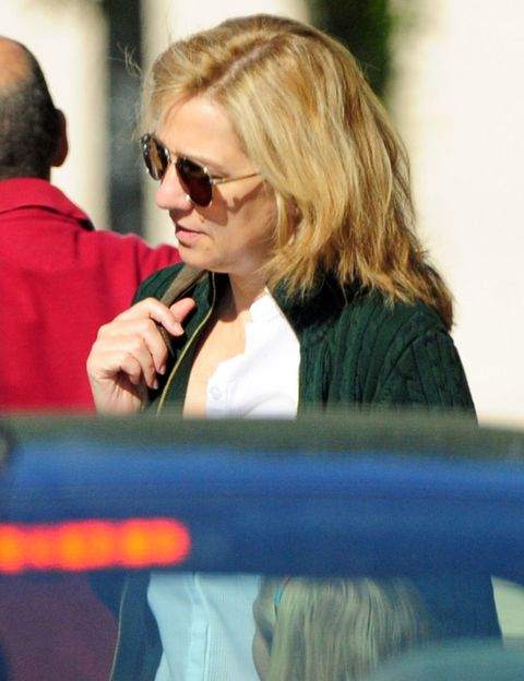 Eyewear, Vision care, Sunglasses, Blond, Street fashion, Long hair, Sweater, Layered hair,