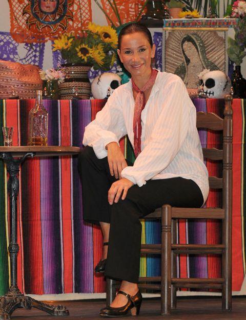 Sitting, Lap, Sandal, Foot, Suit trousers, Creative arts, Ankle, Shelf, Toy, Shelving,