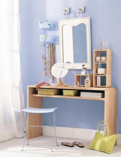 Room, Shelving, Interior design, Teal, Curtain, Aqua, Still life photography, Shelf, Drawer, End table,