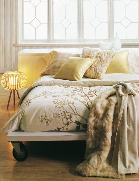 Room, Interior design, Wood, Textile, Furniture, Floor, Bedding, Wall, Linens, Flooring,