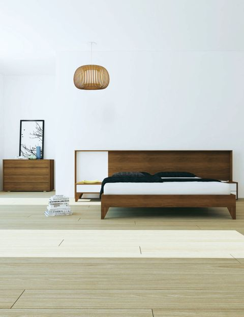 Wood, Hardwood, Room, Wall, Furniture, Bed frame, Bed, Lamp, Wood stain, Bedroom,