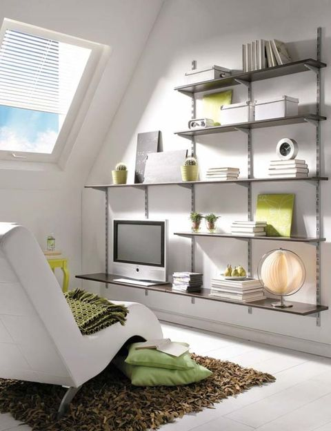 Green, Room, Interior design, Wood, Wall, Home, Furniture, Shelving, Shelf, House,