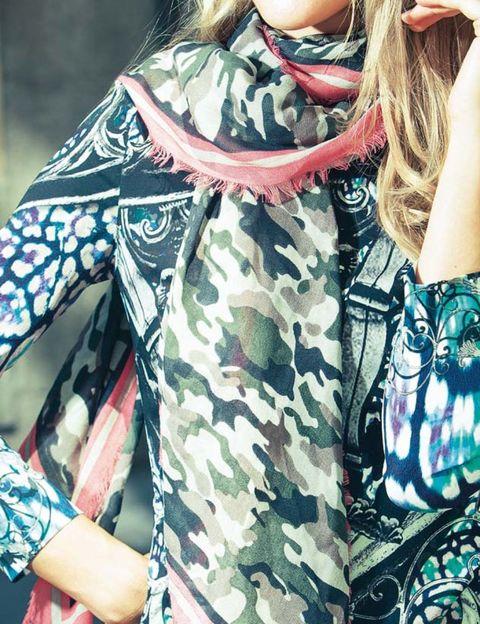 Pattern, Sunglasses, Fashion, Street fashion, Teal, Visual arts, Camouflage, Back, Military camouflage, Fashion design,