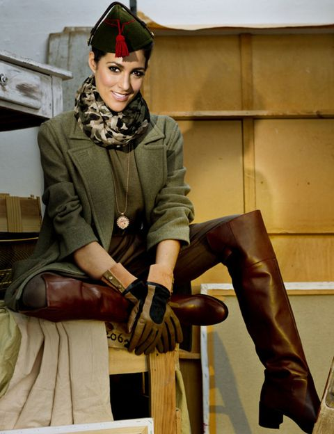 Brown, Textile, Style, Fashion accessory, Bag, Headgear, Riding boot, Fashion, Boot, Leather,