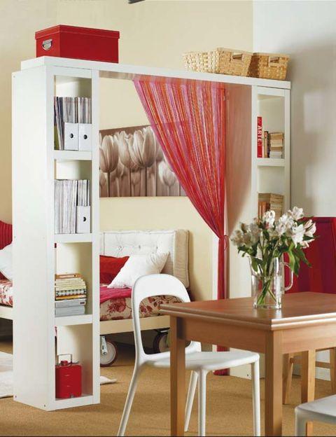 Room, Interior design, Furniture, Red, Table, Wall, Interior design, Home, Shelving, Peach,