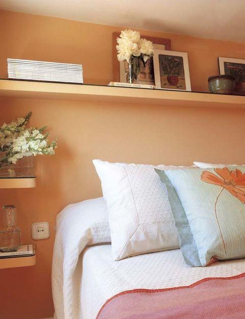 Room, Interior design, Textile, Wall, Bedding, Orange, Bed, Bedroom, Linens, Bed sheet,