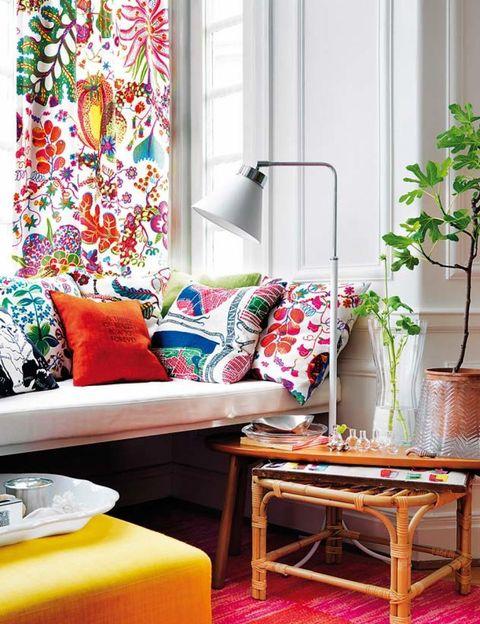 Room, Interior design, Furniture, Table, Orange, Living room, Interior design, Home, Fixture, Pillow,
