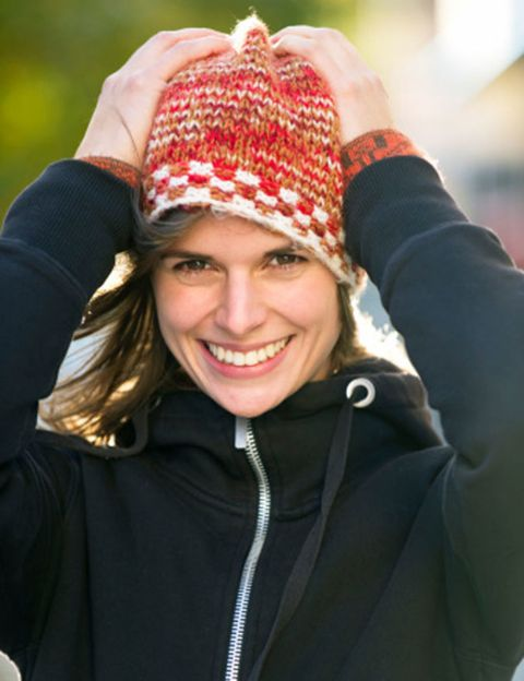 Lip, Winter, Jacket, Happy, Facial expression, People in nature, Pattern, Headgear, Tooth, Cool,