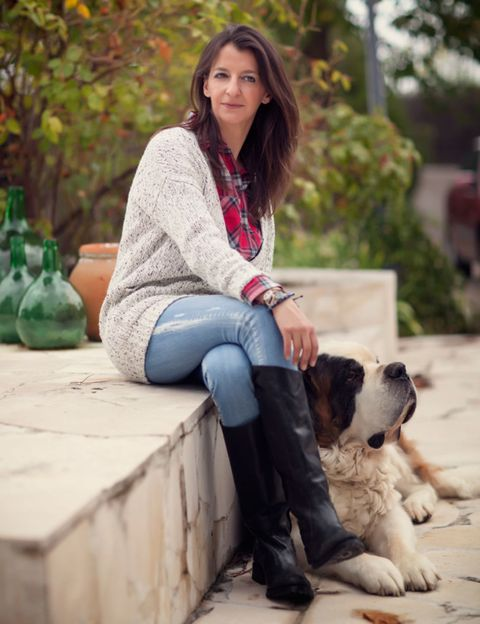 Dog breed, Dog, Sitting, Jeans, Carnivore, Denim, Mammal, Street fashion, Sporting Group, Companion dog,
