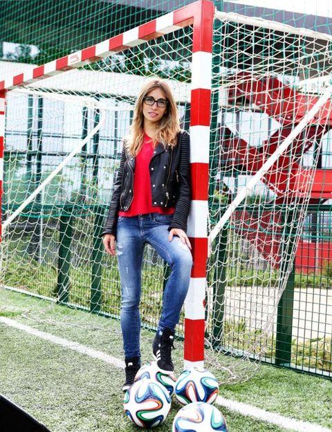 Ball, Football, Soccer ball, Jeans, Sports equipment, Denim, Outerwear, Jacket, Soccer, Ball,