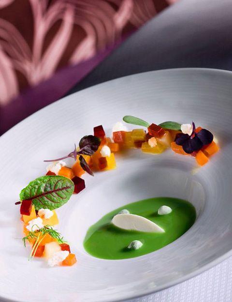 Liquid, Dishware, Fluid, Food, Orange, Culinary art, Garnish, Serveware, Cuisine, Dish,