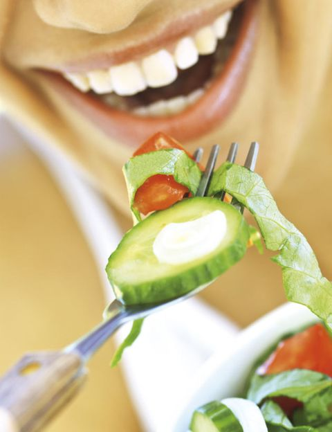 Lip, Vegetable, Food, Tooth, Facial expression, Produce, Jaw, Natural foods, Cucumber, Whole food,