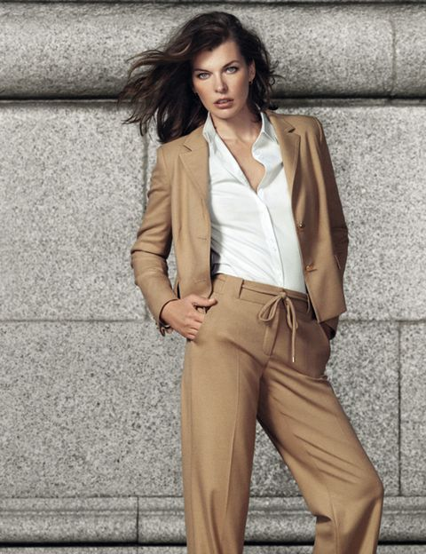 Clothing, Brown, Collar, Sleeve, Human body, Trousers, Shoulder, Khaki, Suit trousers, Textile,