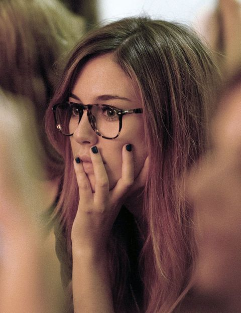 Eyewear, Glasses, Vision care, Lip, Finger, Hairstyle, Eyebrow, Eyelash, Organ, Beauty,