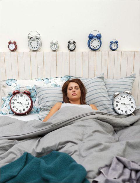 Room, Interior design, Linens, Home accessories, Comfort, Grey, Bedroom, Clock, Bedding, Wall clock,