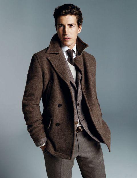 Clothing, Coat, Dress shirt, Collar, Sleeve, Trousers, Shirt, Standing, Pocket, Joint,