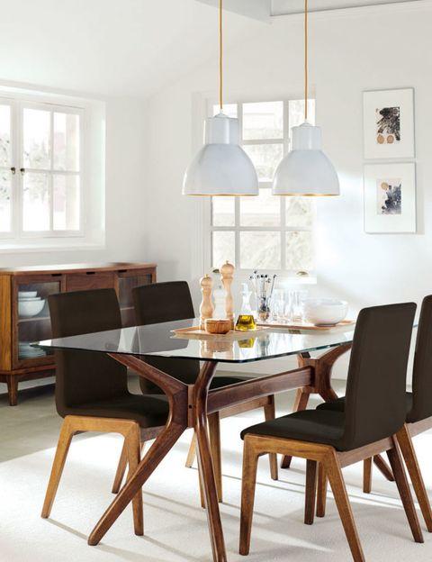 Wood, Room, Interior design, Furniture, Table, Light fixture, Floor, Chair, Lampshade, Dining room,