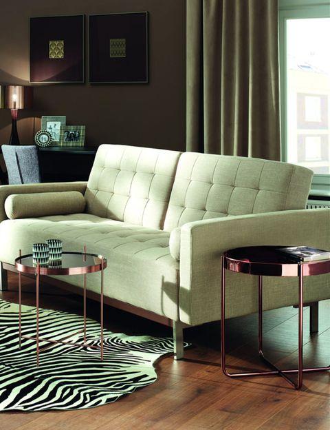 Interior design, Room, Wood, Floor, Green, Brown, Living room, Flooring, Wall, Furniture,