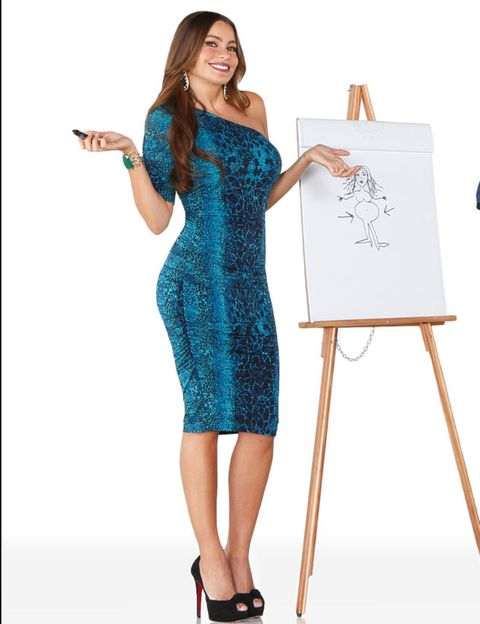 Product, Sleeve, Shoulder, Dress, Standing, Joint, Formal wear, One-piece garment, Easel, Electric blue,