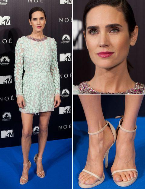Footwear, Lip, Skin, Eyelash, Joint, Dress, Style, Pattern, Fashion model, Beauty,