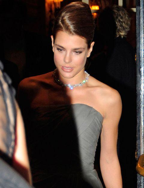 Ear, Hairstyle, Earrings, Shoulder, Dress, Strapless dress, Style, Fashion accessory, Eyelash, Jewellery,