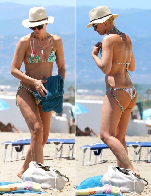 Clothing, Hat, Summer, Brassiere, Sun hat, Headgear, Fashion accessory, Vacation, People on beach, Tan,