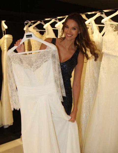Clothing, Shoulder, Textile, Dress, Bridal clothing, White, Wedding dress, Gown, Formal wear, Fashion,
