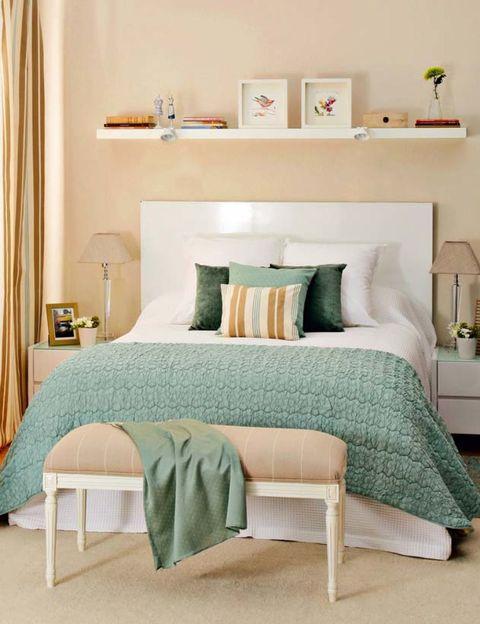 Room, Green, Interior design, Wall, Furniture, Textile, Linens, Teal, Aqua, Bedding,