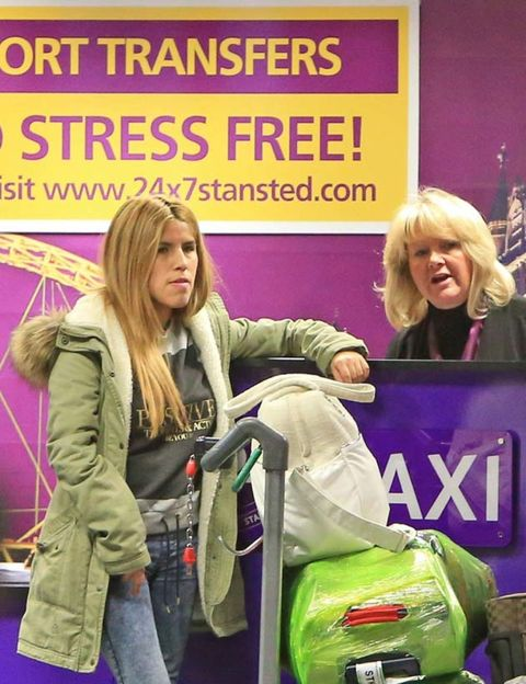 Hair, Bag, Jeans, Luggage and bags, Blond, Baggage, Advertising, Handbag, Boot, Poster,