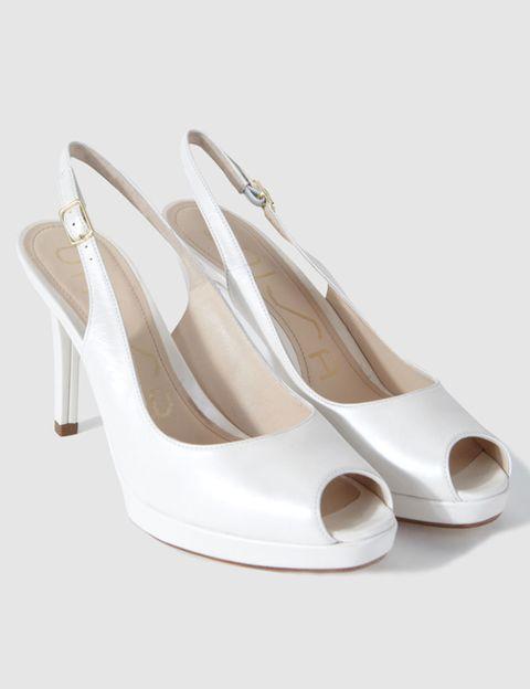 Footwear, Product, White, Sandal, Tan, Basic pump, Beige, Ivory, Material property, Slingback,