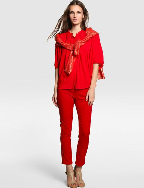 Clothing, Sleeve, Shoulder, Human leg, Textile, Joint, Standing, Red, Waist, Style,