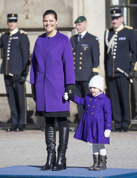 Footwear, Trousers, Winter, Hat, Coat, Standing, Outerwear, Style, Purple, Dress,
